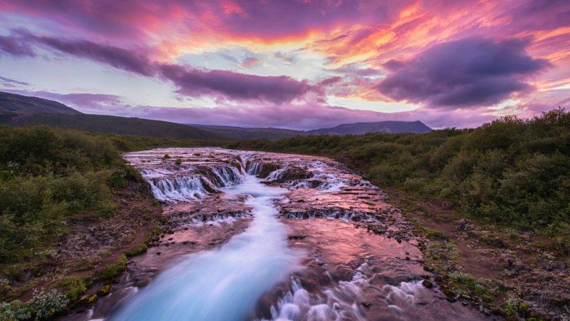 Brúarfoss waterfall in golden circle in Iceland, hidden waterfall in Iceland