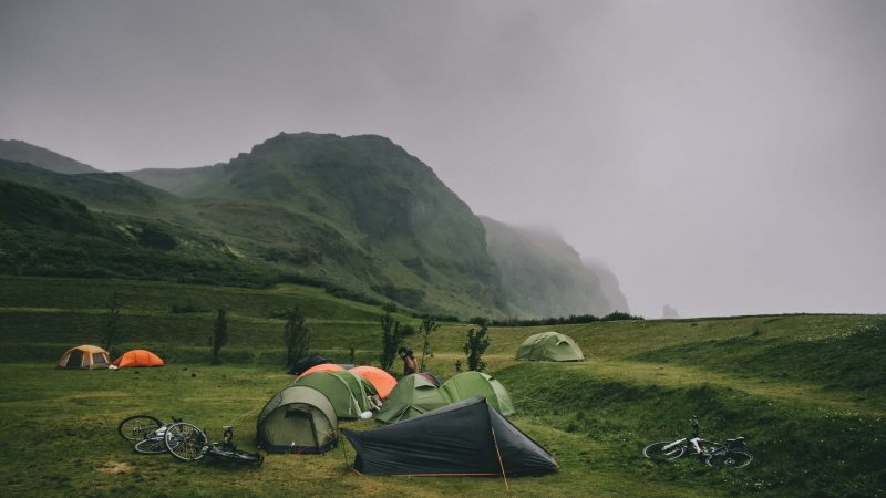 Laugavegur campsite in the highlands of Iceland
