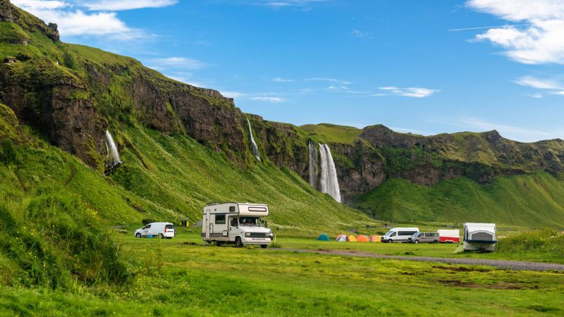 Camping at Seljalandsfoss in south Iceland