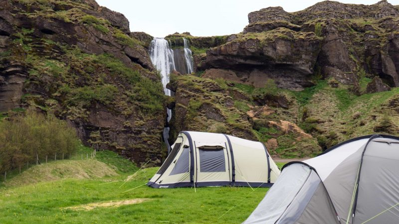 Camping at Gluggafoss in south Iceland