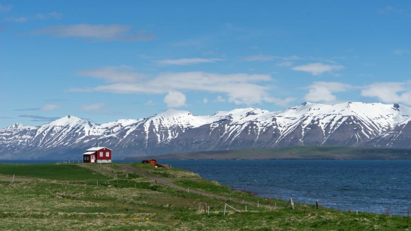 red house standing alone in the summer in Dalvík village in north Iceland