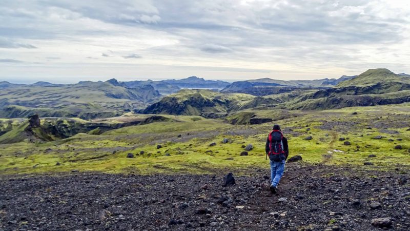 Hiking with a backpack in Iceland