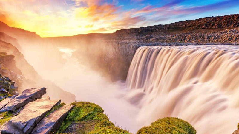 sunset at Dettifoss the most powerful waterfall in Europe during summer