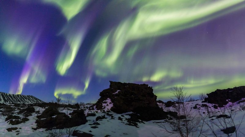 northern lights over Dimmuborgir lava fields in Myvatn north Iceland