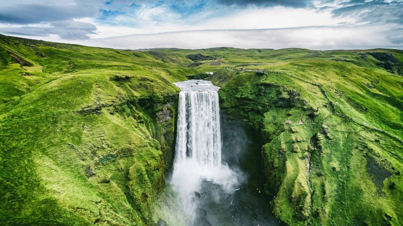 Skógafoss from a drone in Iceland