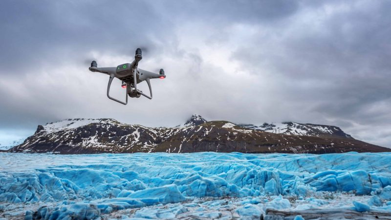 Drone flying in Iceland