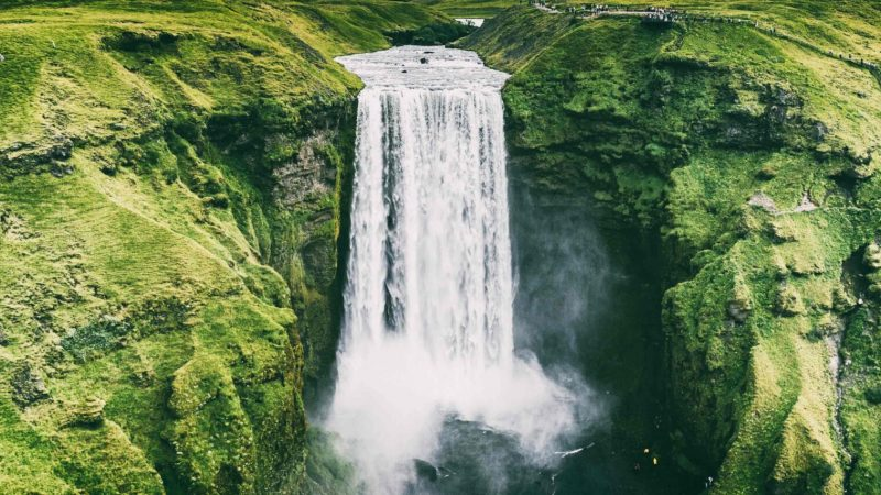 Drone flying in Iceland, Skogafoss seen from a drone in Iceland