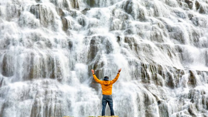 man standing in front of Dynjandi waterfall - Westfjords