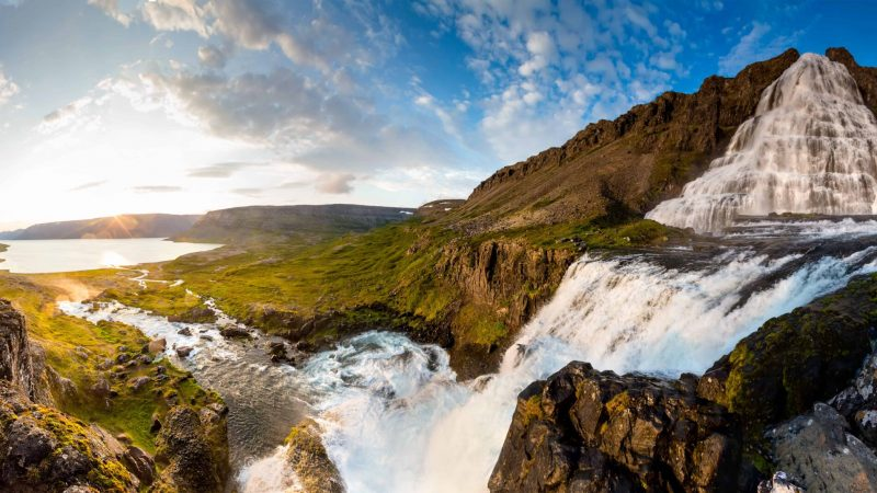 view from Dynjandi waterfall in Westfjords of Iceland