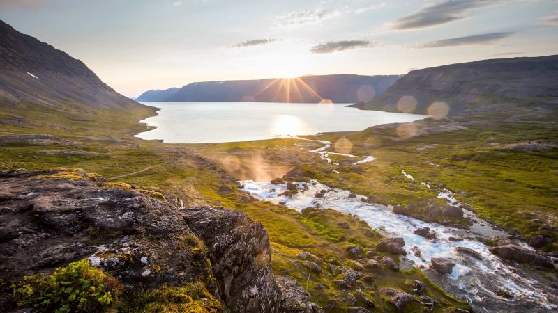 the view from Dynjandi waterfall in the Westfjords