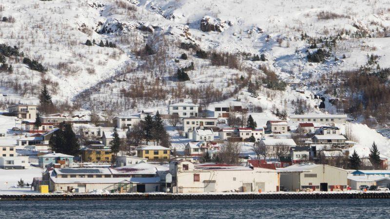 snow and winter in Eskifjörður village in the Eastfjords of Iceland