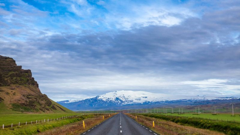 the road in front of Eyjafjallajokull volcano and mountain in Iceland