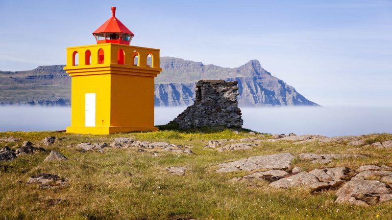 lighthouse in Fáskrúðsfjörður village in Eastfjords of Iceland