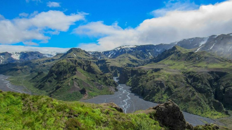 Hiking Fimmvorduhals trail from Skógafoss to Thorsmork in the highlands of Iceland