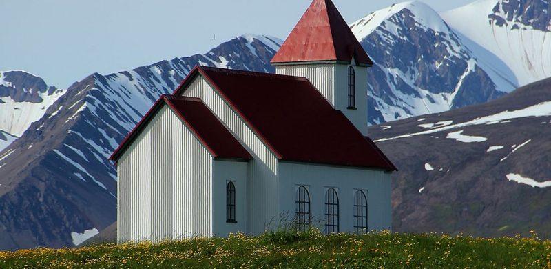 church in Flatey Island in north Iceland
