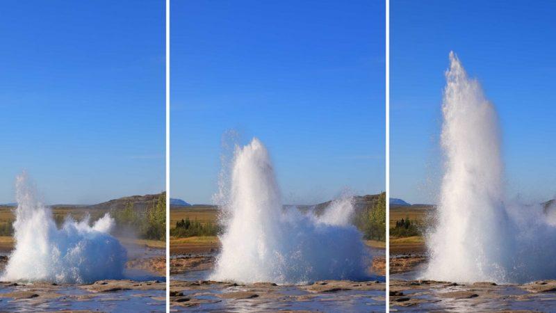 Strokkur erupting in Geysir geothermal area - Golden Circle