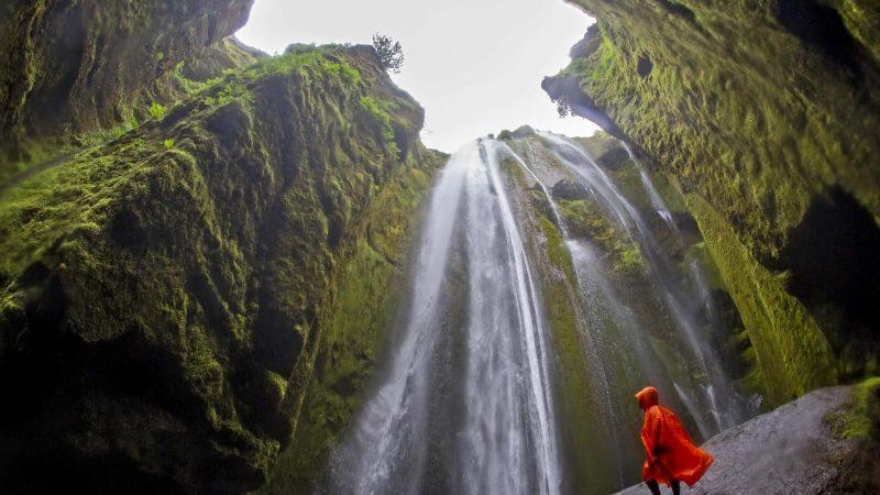 Gljúfrabúi hidden waterfall in a gorge in south Iceland