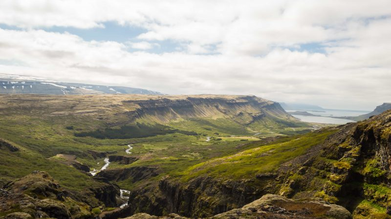 View over Hvalfjörður from Glymur highest waterfall in Iceland