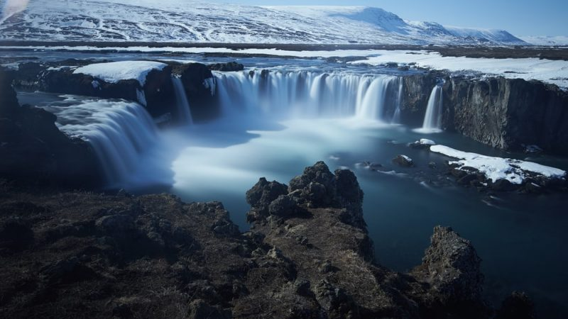 Goðafoss waterfall seen from the east side
