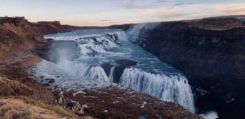 autumn view over Gullfoss waterfall in Golden Circle