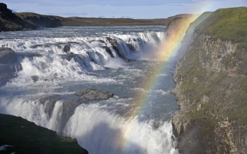 Gullfoss waterfall in Golden Circle Iceland, rainbow at Gullfoss