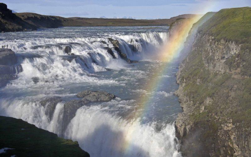 Gullfoss waterfall in Golden Circle Iceland, rainbow at Gullfoss