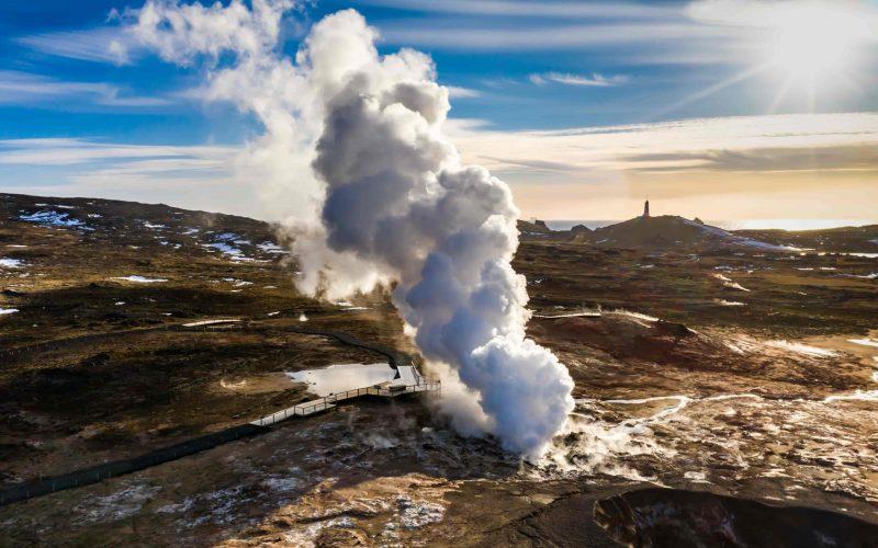 Gunnuhver hot spring in Reykjanes Peninsula Iceland