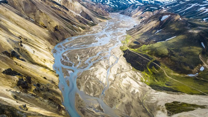 Helicopter view at Landmannalaugar in Iceland