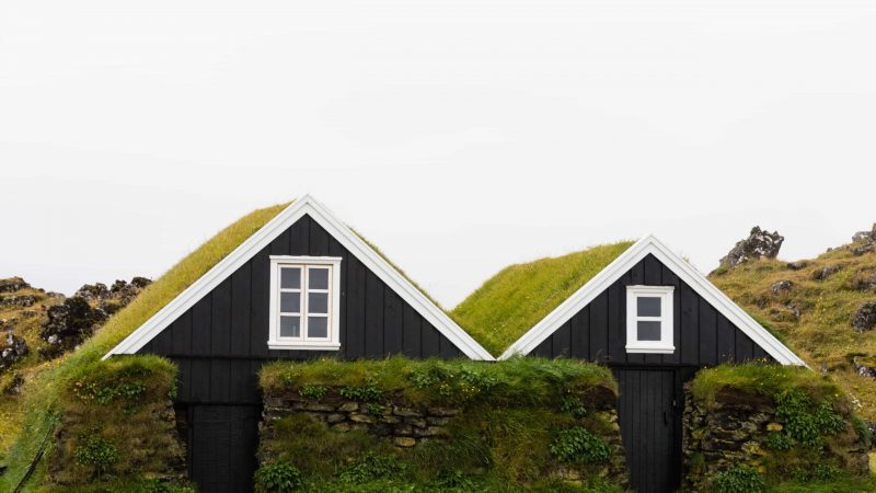 turf houses in Hellissandur in Snæfellsnes Peninsula