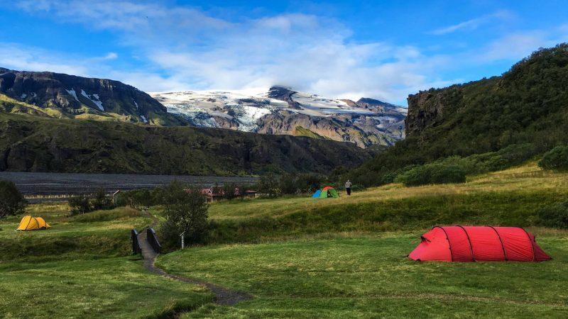 Hiking in Þórsmörk, camping in Þórsmörk