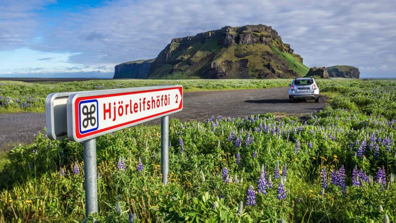 Hjorleifshofdi mountain and yoda cave in south Iceland