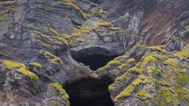 yoda cave in Hjörleifshöfði moutnain in south Iceland, yoda cave from star wars in Iceland