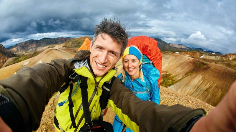 Honeymoon in Iceland, hiking in Landmannalaugar highlands of Iceland