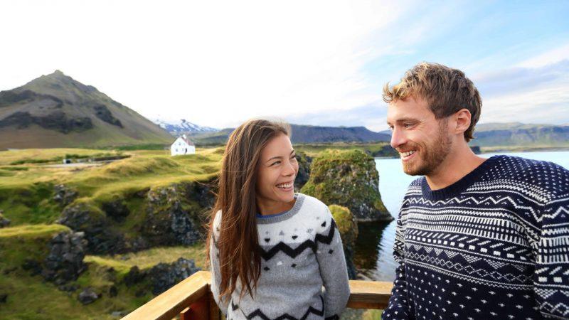 couple in Arnarstapi Snæfellsnes Peninsula, Honeymoon in Iceland