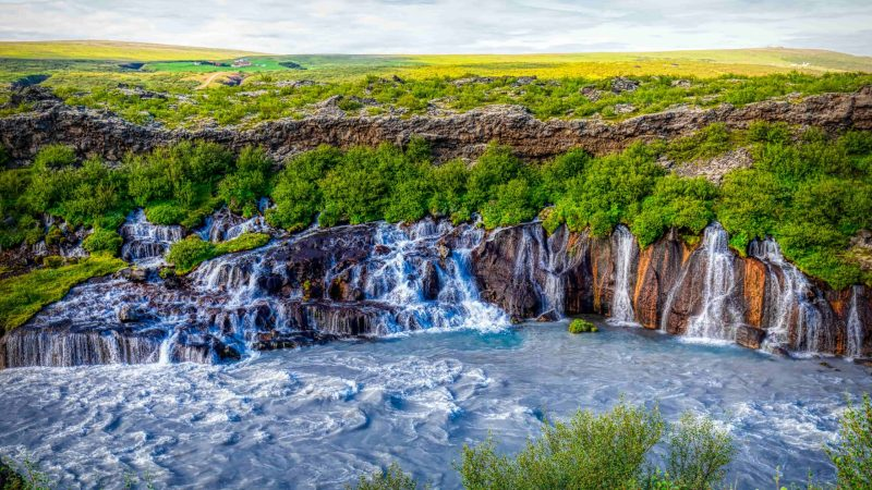 Hraunfossar waterfalls in east Iceland