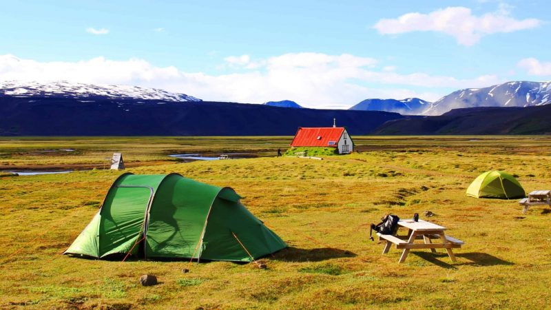 camping in the highlands of Iceland near Hvítárvatn glacier lagoon