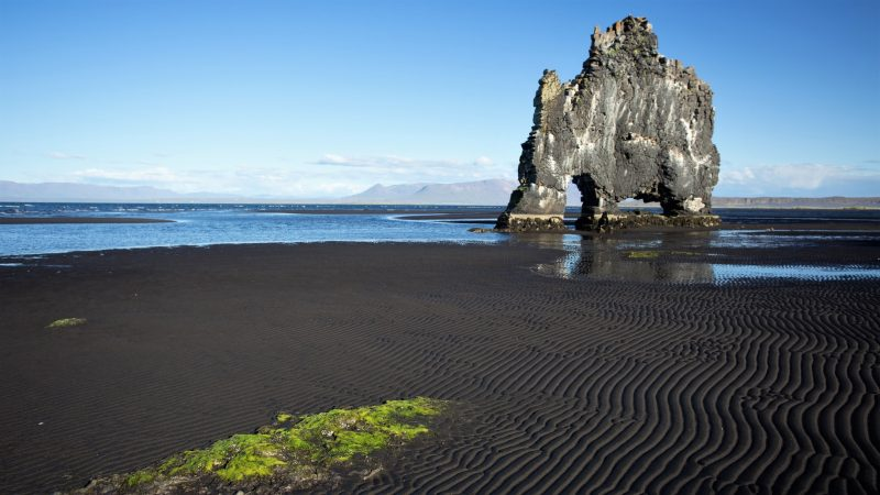 Hvítserkur cliff and black sand beach in north Iceland