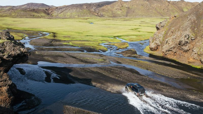 views over the grassy highlands of Iceland