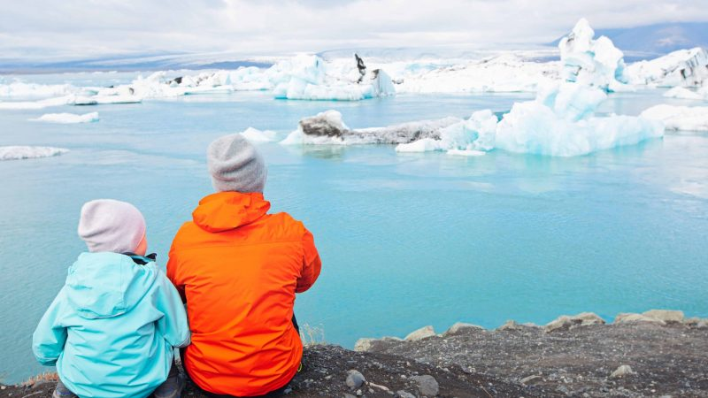 Iceland Family Travel at Jokulsarlon glacier lagoon