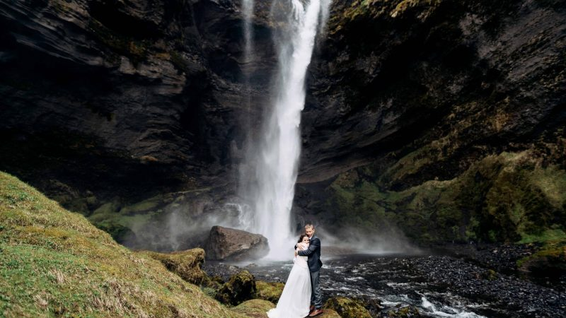 wedding photo shoot at Kvernufoss waterfall in Iceland