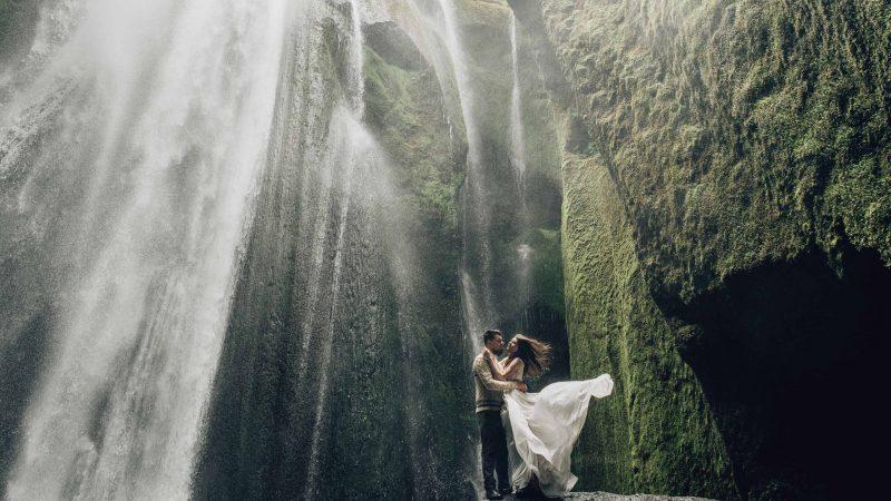 wedding photo shoot at Gljufrabui waterfall in Iceland