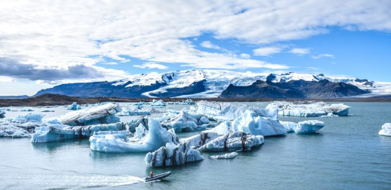 boat sailing on Jokulsarlon glacier lagoon in south east Iceland