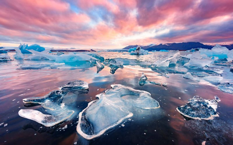 midnight sun and sunset at Jokulsarlon glacier lagoon in south Iceland - south Iceland