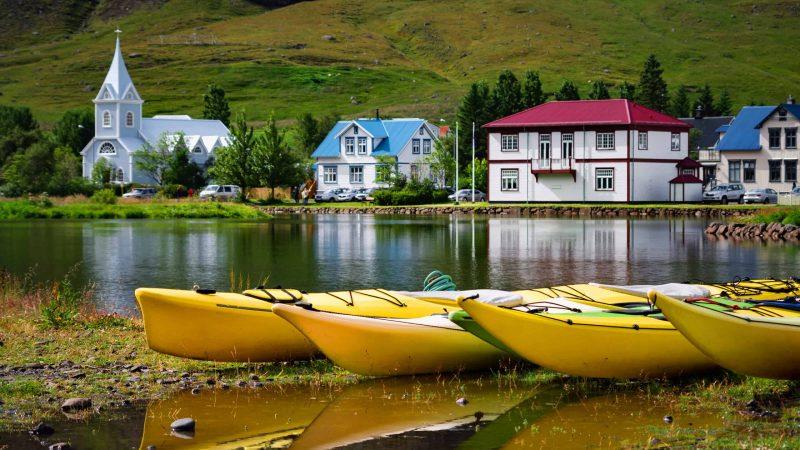 kayak in Seyðisfjordur in east Iceland
