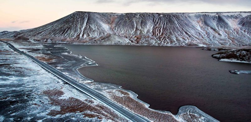 winter at Kleifarvatn Lake in Reykjanes Peninsula Iceland