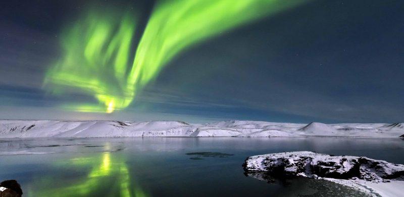 northern lights over Kleifarvatn Lake in Reykjanes Peninsula Iceland
