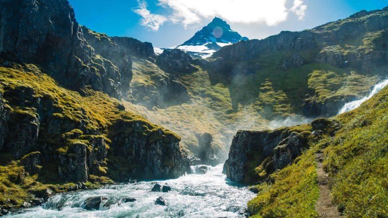 Klifbrekkufossar multi layer waterfalls in Mjoifjordur east Iceland