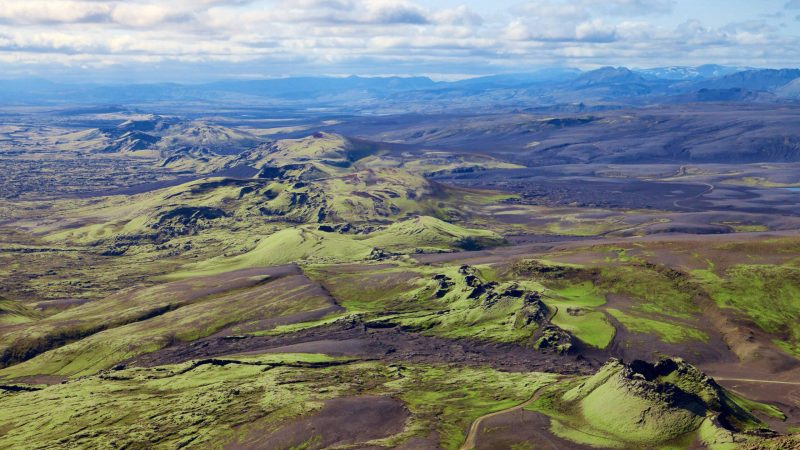 Lakagígar crater in the highlands of Iceland - largest Craters in Iceland