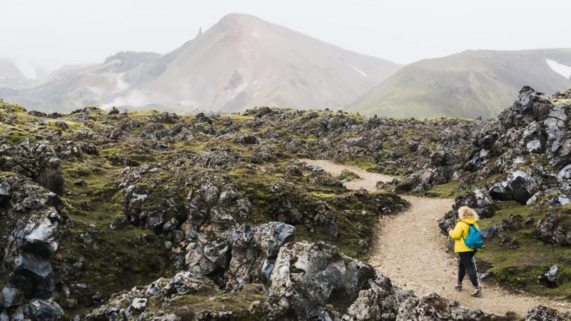 people hiking in Landmannalaugar the highlands of Iceland