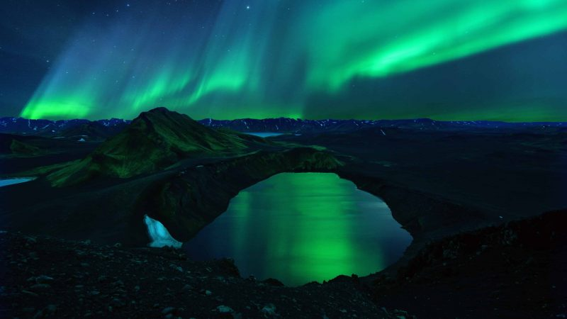 northern lights over Ljotipollur in Landmannalaugar highlands of Iceland